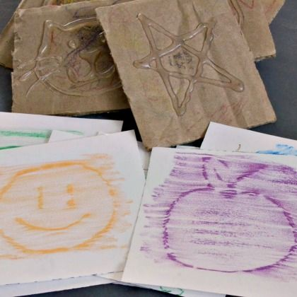 crayon rubbing cards for kids' busy bags
