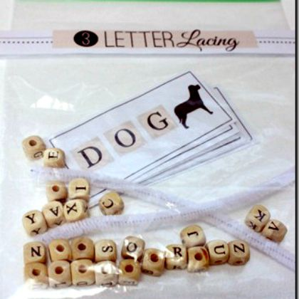 3 letter lacing using pipecleaners and letter beads for sight words