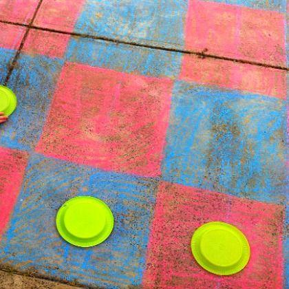 Outdoor Chalk Game Board, sidewalk chalk board games, checker board games