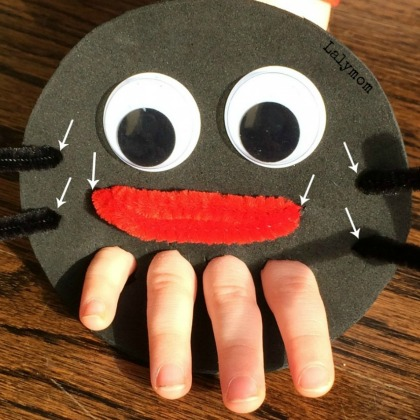 Spider hand puppet with pipe cleaners for spider legs