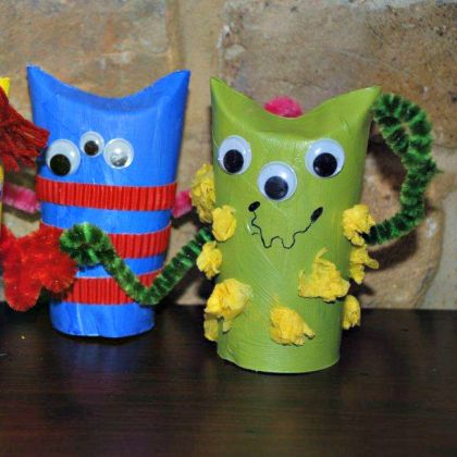 Toilet Paper Roll Monsters using pipe cleaners for hair, hands, etc.