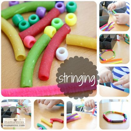 beaded bracelets using pasta, beads, and pipecleaners