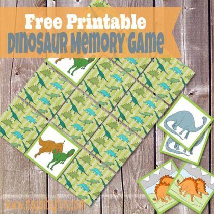 Dinosaur Memory Game, printable board games