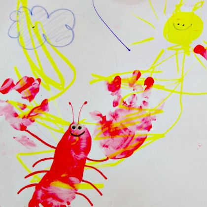 Enjoy painting a lobster using handprints with your 1 year olds!