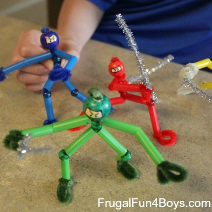 diy ninjas with pipe cleaners