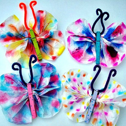 tye dye butterflies with pipe cleaners and colorful papers