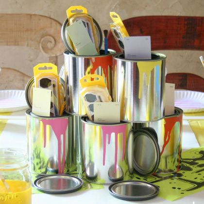 Turn this empty cans into party kit containers for a fun party night!