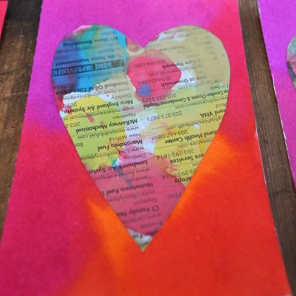 Newspaper heart craft