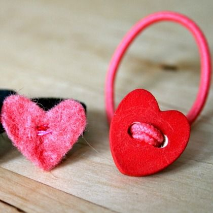 heart button hair ties