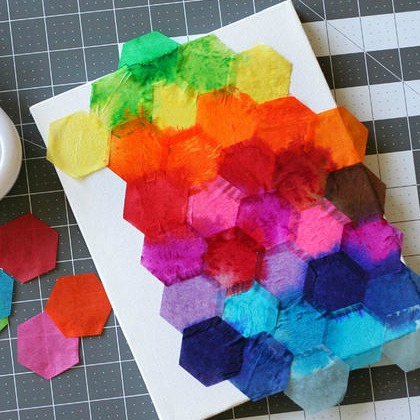 hexagon tissue art