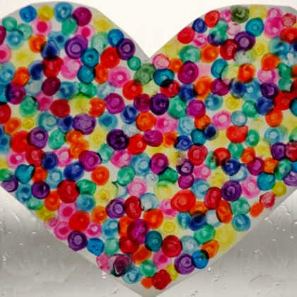 melted crayon dot heart