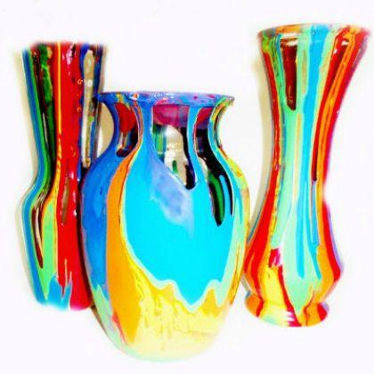 rainbow pour paint vases 124