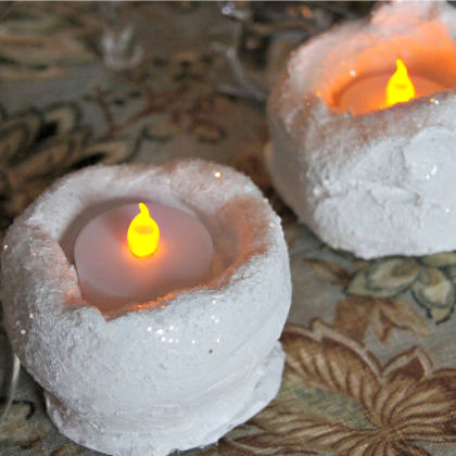 sparkly snow candle holders
