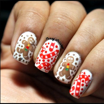 CANDY CANE GINGERBREAD NAILS