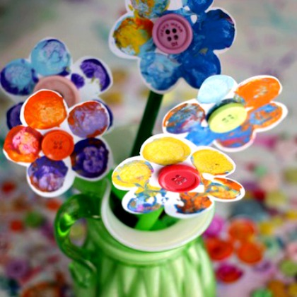 CORK AND BUTTON FLOWERS