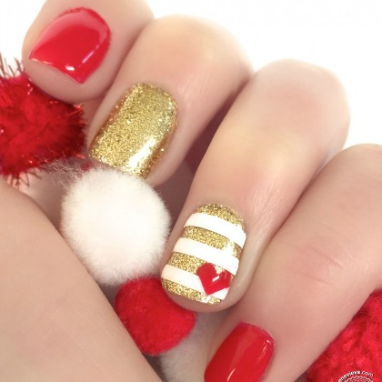 GLITTER HEART HOLIDAY NAILS