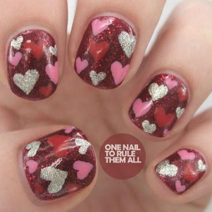 HEART RED GLITTER NAILS