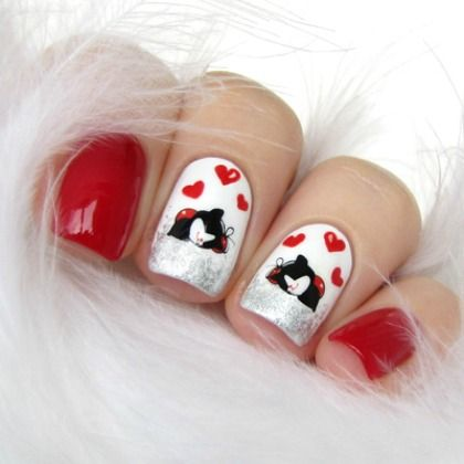 KITTEN VALENTINE NAILS