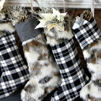 PLAID AND FUR STOCKINGS
