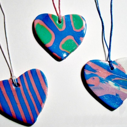 POLYMER HEART NECKLACES