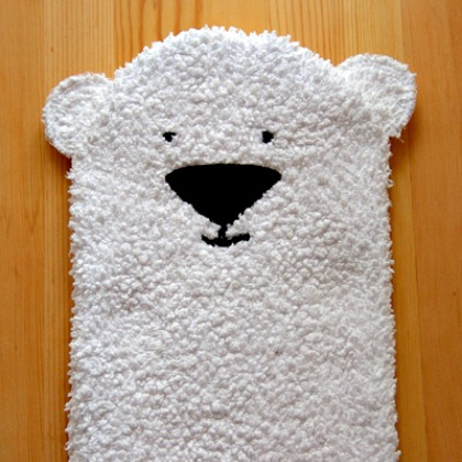 polar bear puppet made out of a white towel