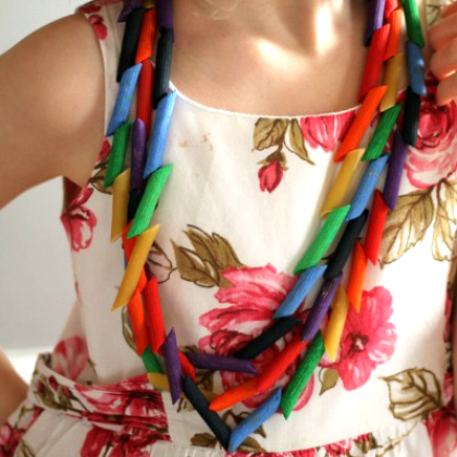 rainbow pasta necklace