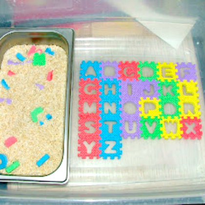 ABC sensory bin