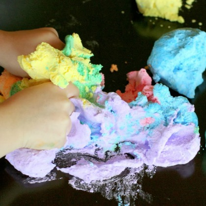 Colored Foam Dough Play Idea