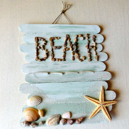 beach craft stick sign