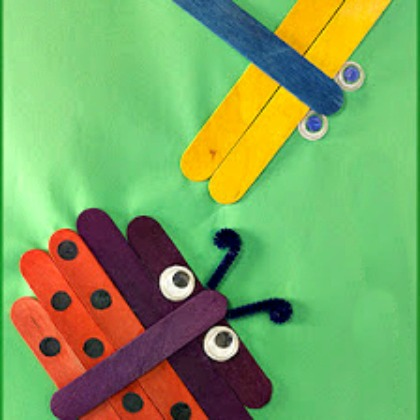 craft stick bugs - ladybug and dragon fly made out of popsicle sticks