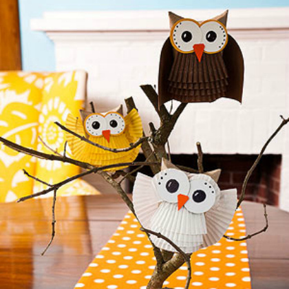 cupcake paper owl family
