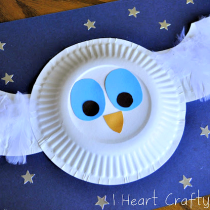 paper plate snow owl