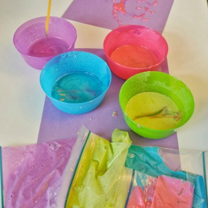 Playful Paint Recipes: DIY Glitter Puffy Paint