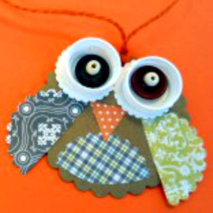 recycled owl pendant