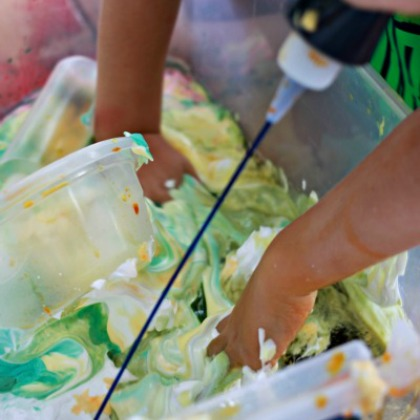 Shaving Cream and Water Colors Play Idea