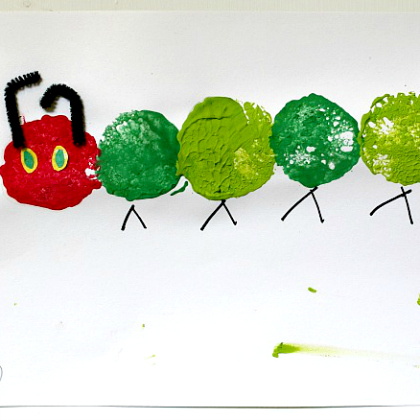 Via Free Kids Crafts Sponge Painted Caterpillar