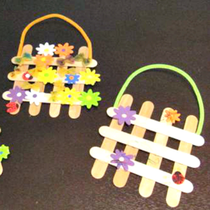 spring flowers on popsicle stick garden gates - great craft for kids