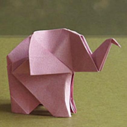 standing origami elephant