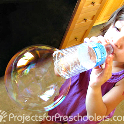 water bottle bubble blowing