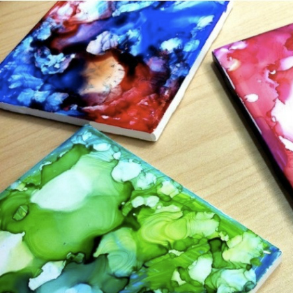 656453a26dc5b8 Do you struggle with getting your family to use coasters  You won t anymore  once they work together to make these gorgeous tie dyed coasters. Via Curbly