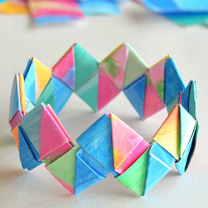 folded paper bracelet