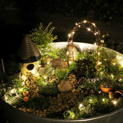 lit fairy garden