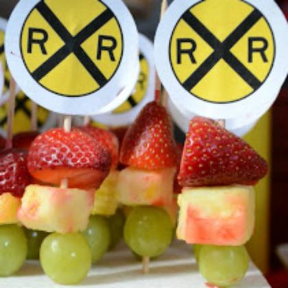 railroad crossing fruit kabobs