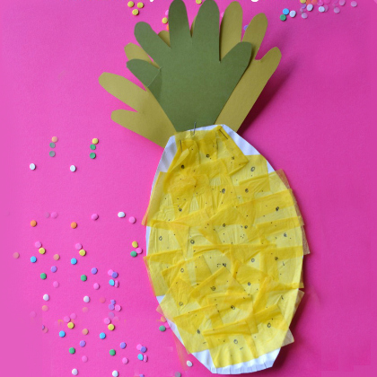 paper plate pineapple