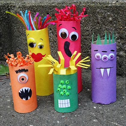 cardboard tube monster family