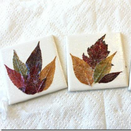 glitter leaf coasters