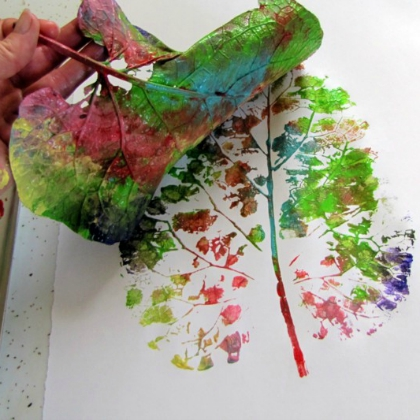 painted leaf prints