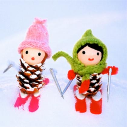 pinecone skiers