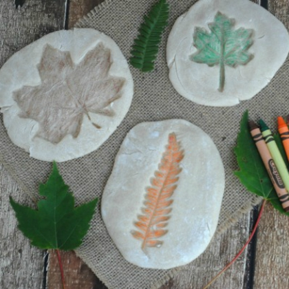 salt dough leaf imprints