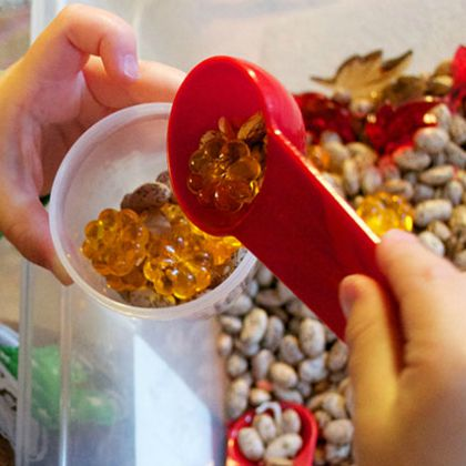 Autumn Sensory Bin (Sow Sprout Play)